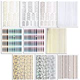 FLOFIA 10 Blatt Nagelsticker Streifen Selbstklebend Nail Art Striping Tape Stripes Sticker Zierstreifen Nagelaufkleber Nageldesign Dekoration