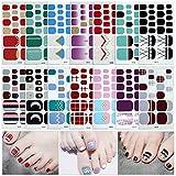 Füße Nagelsticker,Nagelaufkleber,Nagelkunst Sticker Selbstklebende Maniküre Sticker Schöne Mode DIY Dekoration 14 Blatt (308pcs) Nagelsticker
