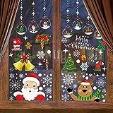 Sinicyder Weihnachtsdeko Fenster, 260 Weihnachten Fensterbilder Weihnachten selbstklebend Fensterdeko PVC Schneeflocken Deko, Weihnachten Deko für Türen Schaufenster Vitrinen Glasfronten