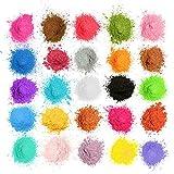 MOSUO Epoxidharz Farbe Mica Pulver, 25 Farben Seifenfarbe Set Pigmente Pulver(5g), Metallic Farben Schimmern Sie Glitter Powder, Farbpulver für Seifen Slime Malerei Kosmetik DIY Resin