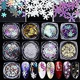 750 PCS Nägel schneeflocken pailletten schneeflocken nail art -3d Nägel Weihnachts schneeflocken Sequins Nagelkunstschneeflocken Konfetti für Xmas Party Fingernagel Toenail Nail Decor