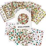 Nicedeco 50 Blatt (mehr als 1500 Stück) 3D Weihnachten Muster Nagel Sticker selbstklebende Aufkleber Tattoo Nail Art/Phone Case/Karten Deko